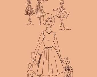 Instant PDF Download Vintage Sewing Pattern to make A College Campus Wardrobe of  Clothes for 11.5 inch Teenage Dolls Such as Barbie