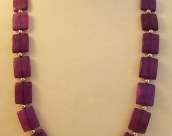 Purple Necklace - Long Purple Necklace - Purple Jewelry Set - Women's Jewelry Set - Purple Earrings - Purple Rectangle Necklace -Jewelry Set