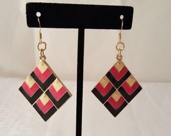 Gold Square Earrings - Pink Earrings - Black Earrings - Women's Earrings - Dimensional Earrings - Diamond Shape Earrings - Hot Pink Earrings