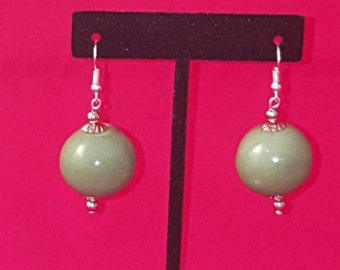 Pale Green Porcelain Glass Spheres, Round Glass Beads, Silver Earring Set