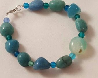 On Sale - Blue Stone Bracelet - Women's Blue Bracelet - Blue - Stone Bracelet - Blue Bracelet - Women's Bracelet - Sea Glass - Ocean Theme