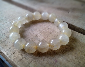 12 mm Golden Rutilated Quartz Bracelet, Healing Bracelet, Stretchy Bracelet