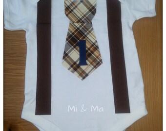 Boys brown tie and suspender vest/onesie, Cake smash, child Photography Prop, 1st Birthday tie onesie, boys outfit, bodysuit, wedding onesie