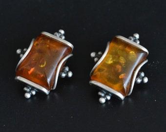 Amber Earrings, Baltic Amber Earrings, Vintage Sterling Silver Earrings, Amber Silver Earrings, Clip on Earrings (V101) 45% SALE