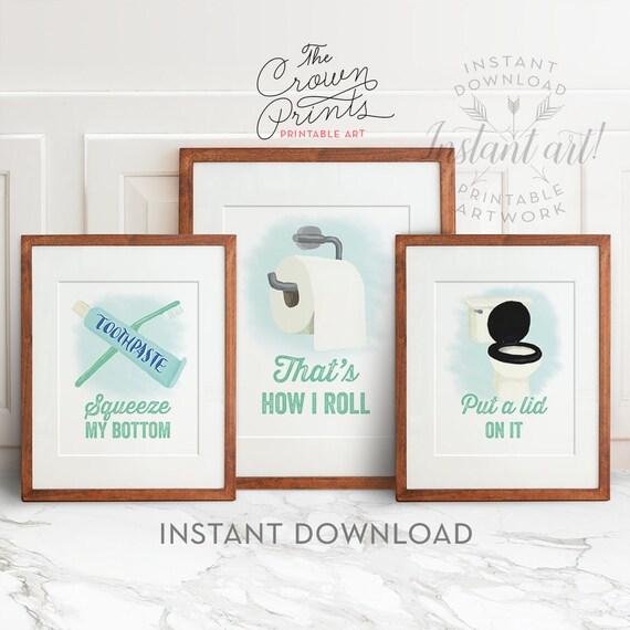 Funny bathroom art set of 3 printable bathroom wall - Funny bathroom wall decor ...