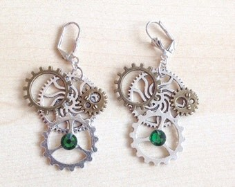 Steampunk with COGS, gears and green crystal earrings