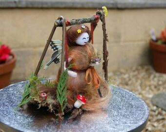 Autumn Fairy, Woodland Fairy on Swing. Wool felt Fairy