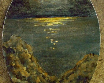 Moonrise Over The Sea Original Oil Painting in a gold frame.