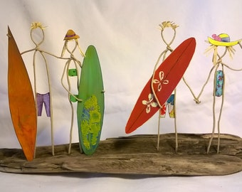 Wire Art Sculpture , Driftwood, Wire Surfers Art