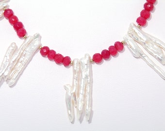 BN123- Fancy Red Chalcedony bead and White Branch Freshwater Pearl necklace