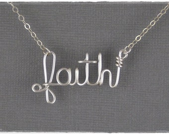 faith Wire Word Pendant Necklace
