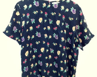 Vintage floral anna and frank blouse medium