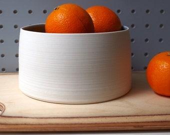 White Porcelain Bowl. Handmade wheel thrown ceramic porcelain pottery.