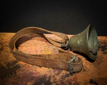 Beautiful Antique European Brass Cowbell with Leather Strap