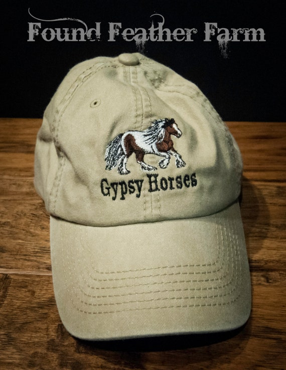 Brushed Denim Found Feather Farm Brand Gypsy Horse Cap