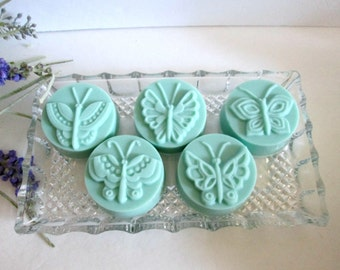 Set of FIVE Shea Butter butterfly guest soaps, creamy scented hand soap- great for hostess or shower gift, teachers, guests, gift wrap avail