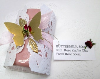 Handmade Buttermilk soap with Rose Kaolin Clay - luxurious bar soap for the discerning woman.  Gift wrapped for unique, inexpensive gifting