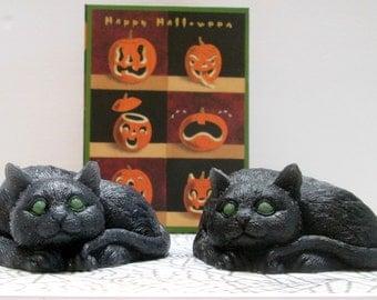 Hemp Oil black cat SOAP, Halloween soap, specialty soap, fancy novelty soap, handmade ,