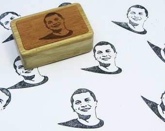 Custom Portrait  Name Stamp Girl  Boy Stamp Woman Man Face Illustration Portrait  Wood Mounted Rubber Stamp Stamps for HandMakers