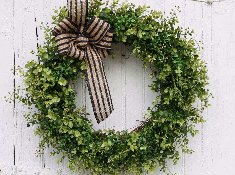 Boxwood Wreath Farmhouse Decor Front Door Wreath Greenery
