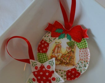 Vintage Handmade Quilted Ornament Set of 2