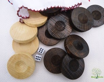 English draughts set, Checkers set, Handcrafted draughts pieces, 30 Beachwood draughts, Wooden draughts, Handmade checkers