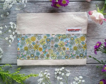 Mini Floral Print -- Snack / Sandwich / Quart / Gallon Size Reusable Bag -- Natural Canvas -- Made to Order