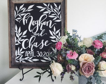 Chalkboard Vine Welcome Sign for Wedding