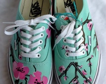 Painted Shoes Cherry Blossom Mint Canvas - Custom Order VANS/TOMS - SoleBliss