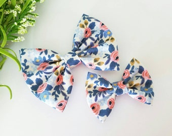 Blue, Pink and white floral bow | Little Girl Hairbow | Baby Bow | Choose Alligator Clip or Nylon Headband | Baby Headband |