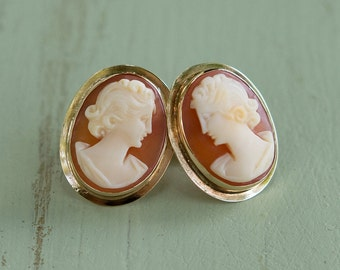 Vintage 14k Art Deco Carved Shell Cameo Earrings, bezel set - Free Shipping