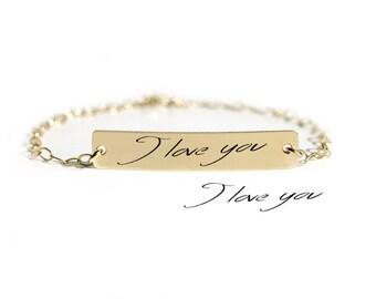Signature Bracelet - Actual Handwriting Bar Bracelet - Memorial Engraved Bar Bracelet - Keepsake Jewelry - Mother Gift - VALENTINES GIFTS