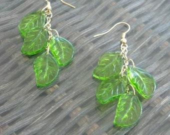 Green Falling Leaves Earrings