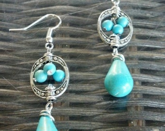Turquoise Bead Cluster with Teardrops