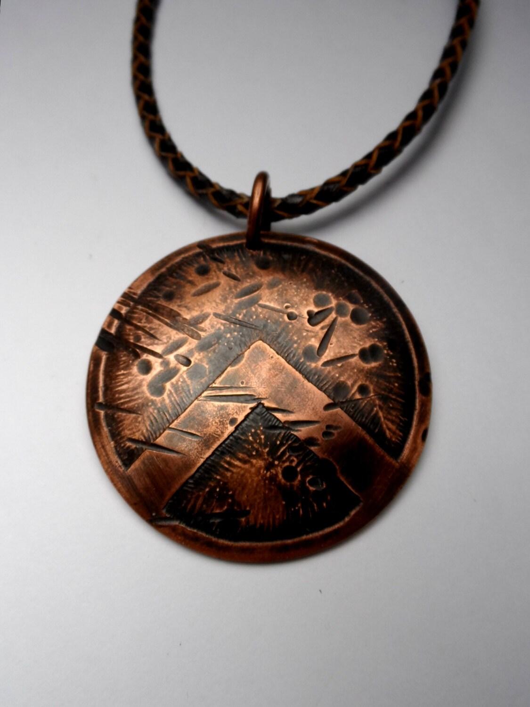 battle worn spartan shield pendant aged copper genuine