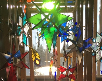 Large green star, glass star, stained glass star, 3 dimensional star