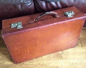 Vintage Leather Suitcase, Vintage Luggage, 1920s Leather Case, Tan Leather Suitcase