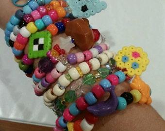 WHOLESALE Lot of 10 Random Multi-colored Kandi Raver PLUR Rave Singles with Perler Dangles