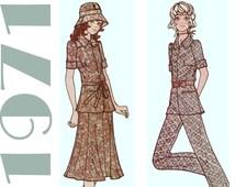 1970s Pattern, McCalls 2728 sz 11 b 33.5, Flared Skirt, Gored Skirt, Bell Bottom Pants, Belted Blouse, Bucket Hat, Vintage Hat Pattern