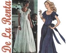 Boho Wedding Dress, Vogue 1043 sz 12 b 34, Oscar De La Renta, 1970s Evening Dress, Hippie Wedding Dress, Peasant Dress, Vintage Prom Dress