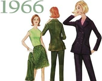 Mod Pantsuit, McCalls 8390 sz 14 b 34, 1960s Pantsuit, Cigarette Pants, Mod Jacket, Vintage Preppy, A-line Skirt, Sleeveless Top, Skirt Suit