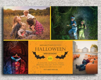 Halloween Mini Session Template - Photoshop Template - INSTANT DOWNLOAD