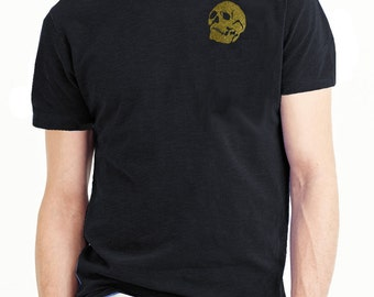100%  cotton metalic gold skull print