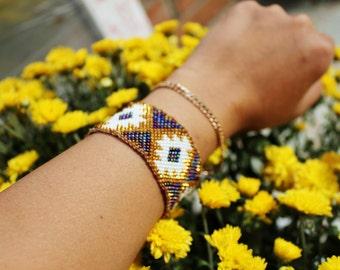 Peyote stitch beaded bracelet, aztec bracelet