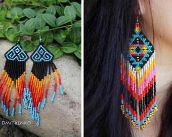 Tribal beaded earrings, peyote stitch earrings, tribal earrings, huichol earrings