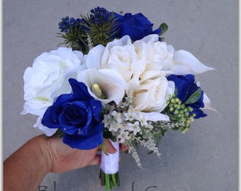 Royal blue and white bouquet, roses blue and white. Wedding bouquet.