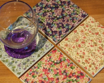 Ceramic coasters - Mixed set of colourful floral tiles - set of 4