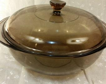 Vintage 1981 Pyrex Fireside Originals Pyrex Amber 024 Lid 624 Casserole Dish 2 Quart