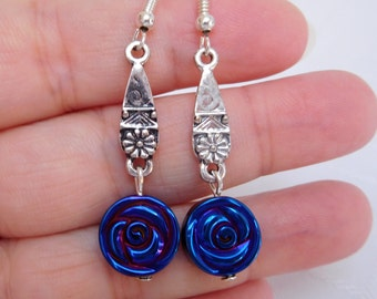 Blue Hematite & Tibetan Silver Drop Earrings, Dangle Earrings, Blue Earrings, Gift For Her
