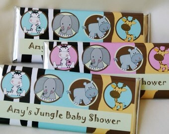 Jungle baby shower decorations, unique baby shower favor, personalized candy bar wrapper, unique invite, baby boy, baby girl, first birthday